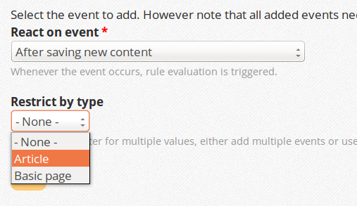 Configuring the content type while adding the event