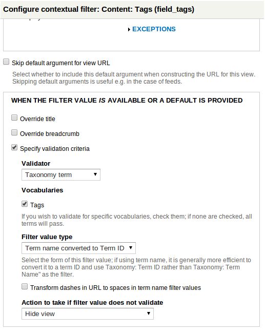 Rules vbo onfig contextual filter settings